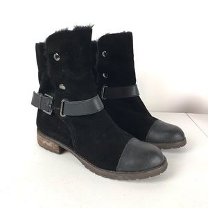 Matt Bernson Black Leather Tundra Boots Cap Toe